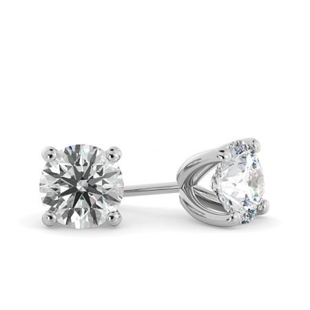 Round Stud Diamond Earrings - HER23