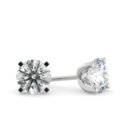 Round Diamond Stud Earrings - HER35