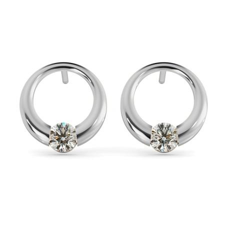 Round Stud Diamond Earrings - HER40