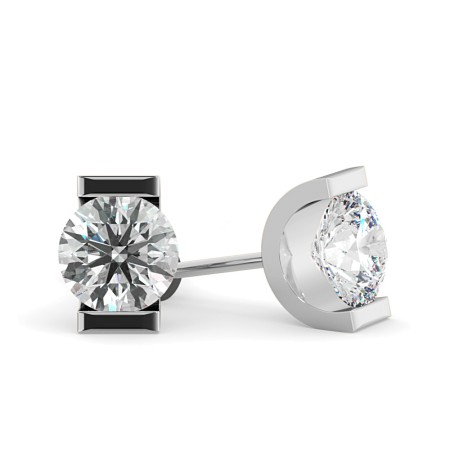 Round Stud Diamond Earrings - HER42