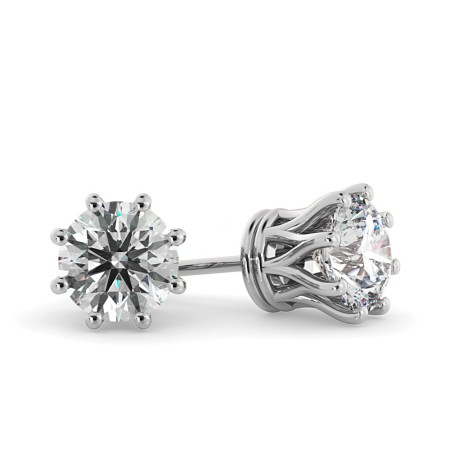 Round Stud Diamond Earrings - HER43