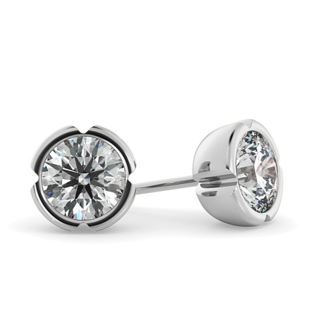 Round Stud Diamond Earrings - HER47