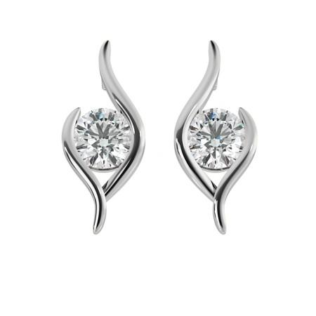 Round Stud Diamond Earrings - HER50