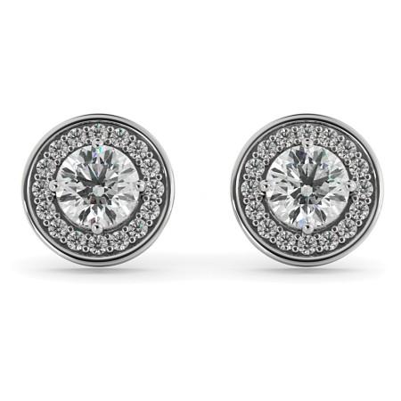 Round cut Halo Designer Diamond Earrings - HER60