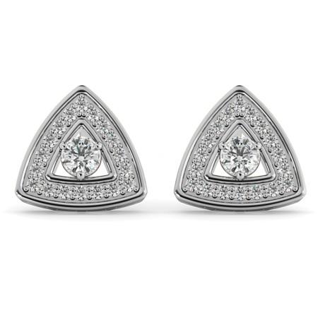 Triangular Halo Round cut Designer Diamond Earrings - HER61