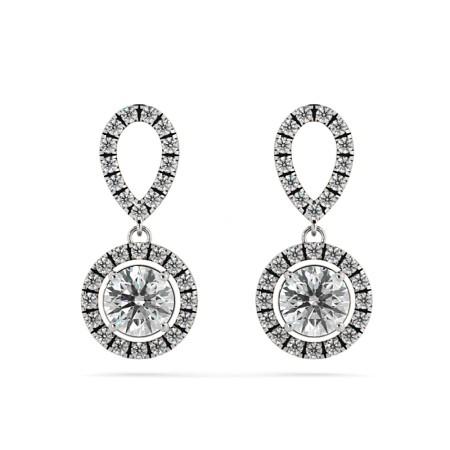 Round Designer Diamond Earrings - HER62