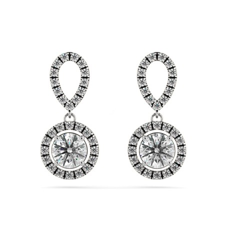 Micro set Round cut Halo Drop Diamond Earrings - HER62
