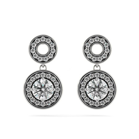 Round Designer Diamond Earrings - HER63