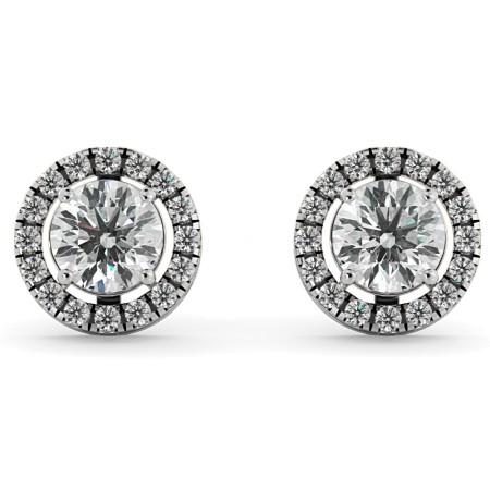 Round Micro set Halo Designer Diamond Earrings - HER64