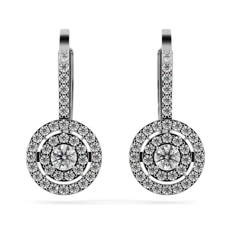 Micro set Round cut Double Halo Clip Diamond Earrings - HER66