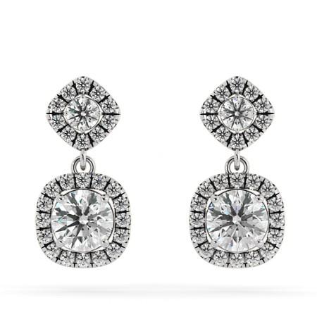 Round cut Cushion Double Halo Diamond Earrings - HER68