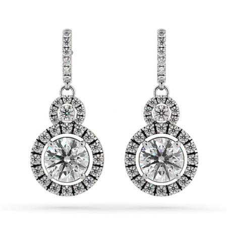 Round Double Halo Drop Designer Diamond Earrings - HER70