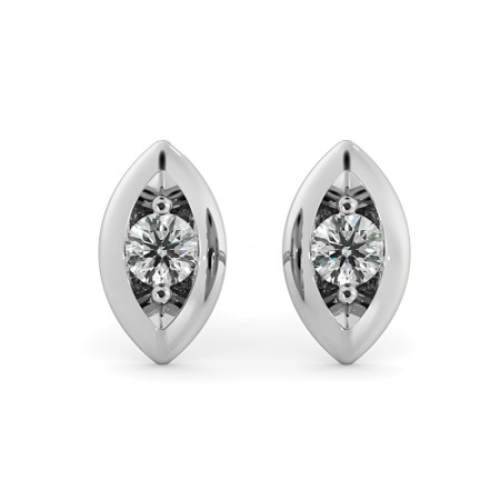 Round cut Designer Leaf Stud Diamond Earrings - HERDR77