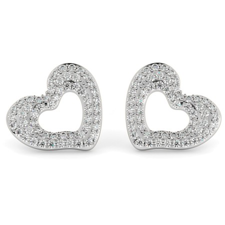 Round cut Designer Heart Diamond Earrings - HERDR81