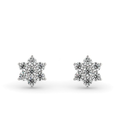 Round Floral Cluster Diamond Earrings - 0.25ct VS / F-G - HERDR92