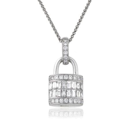 Baguette & Round cut Lock & Key Diamond Pendant - HPBDR137