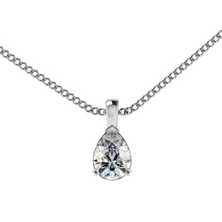 Pear Solitaire Pendant - HPPE54