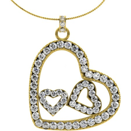 HPR19 Round Heart Shape Diamond Pendant 0.37ct / I1 / H-I - HPR19RN828