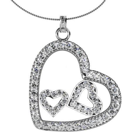 Round Heart Shape Diamond Pendant - HPR19