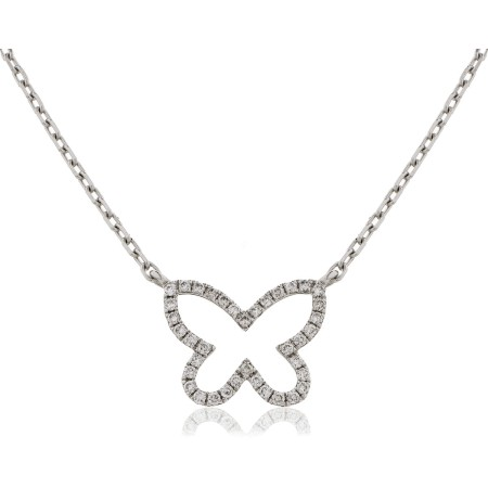 Round cut Butterfly Diamond Pendant & Fixed Chain - HPRDR115