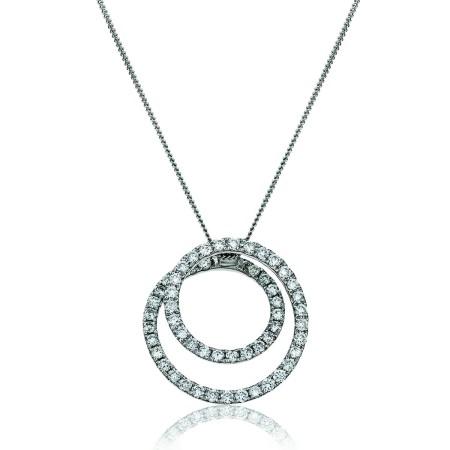 Round cut Swirl Diamond Pendant - HPRDR121