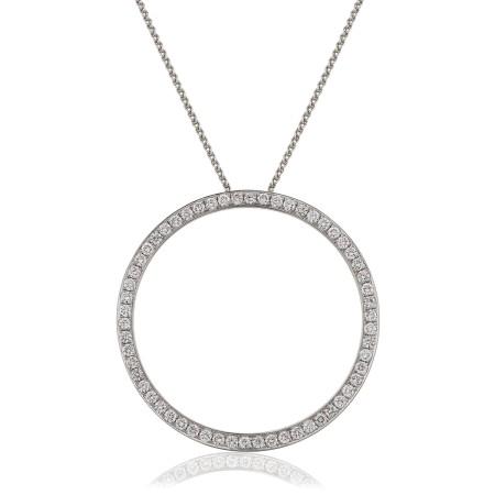 Circle of Life Micro set Round cut Diamond Pendant - HPRDR123