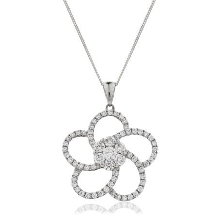 Round cut Flower Cluster Diamond Pendant - HPRDR124