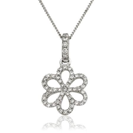 Round cut Designer Flower Diamond Pendant - HPRDR127