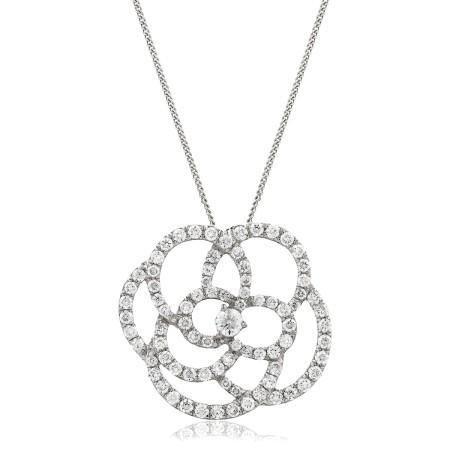 Round cut Spiral Flower Diamond Pendant - HPRDR128