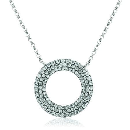 Triple Row Round cut Circular Diamond Pendant - HPRDR129