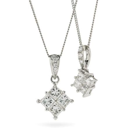 Princess Cluster Diamond Pendant - HPRDR131