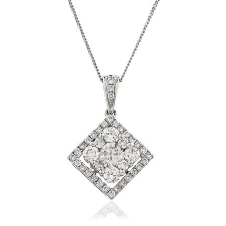 Princess shaped Round cut Halo & Cluster Diamond Pendant - HPRDR132
