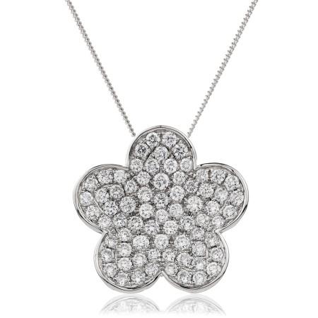 Round cut Flower Cluster Diamond Pendant - HPRDR134
