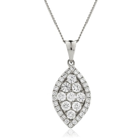 Marquise shaped Round cut Halo & Cluster Diamond Pendant - HPRDR135