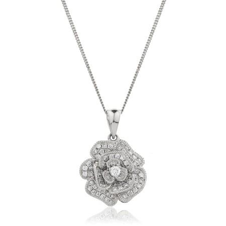 Blooming Flower Round cut Designer Diamond Pendant - HPRDR136