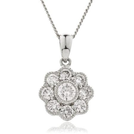 Round cut Designer Diamond Pendant - HPRDR138