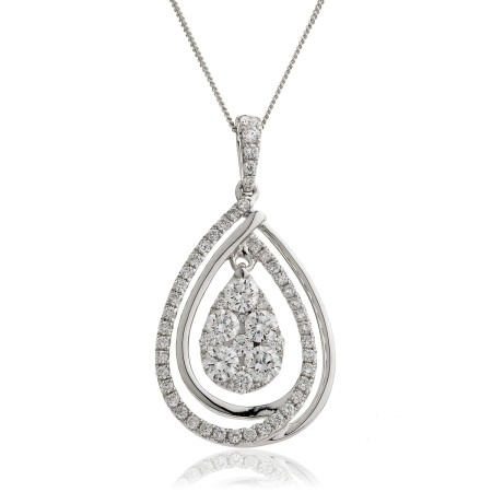 Round cut Designer Diamond Pendant - HPRDR142