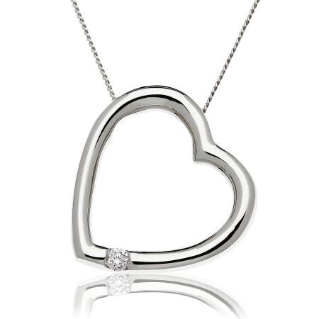 Round cut Single Diamond Heart Pendant - HPRDR197