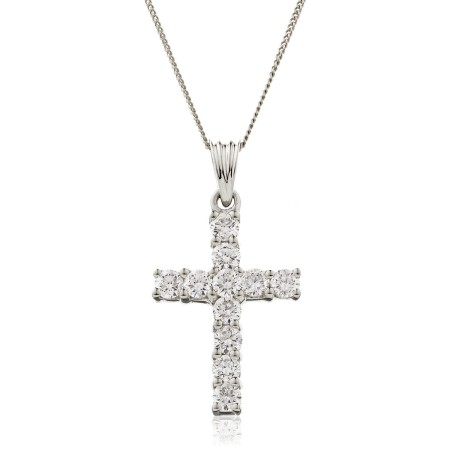 Classic Round cut Diamond Cross Pendant - HPRDR210