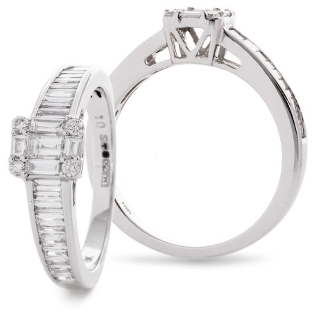Round & Baguette cut Tapering Shoulders Cluster Diamond Ring - HRBCL921