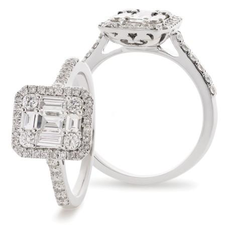 Round & Baguette cut Halo Cluster Vintage Diamond Ring - HRBCL925