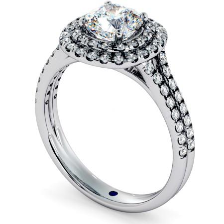 Double Split Band Cushion cut Halo Diamond Ring - HRCSD712
