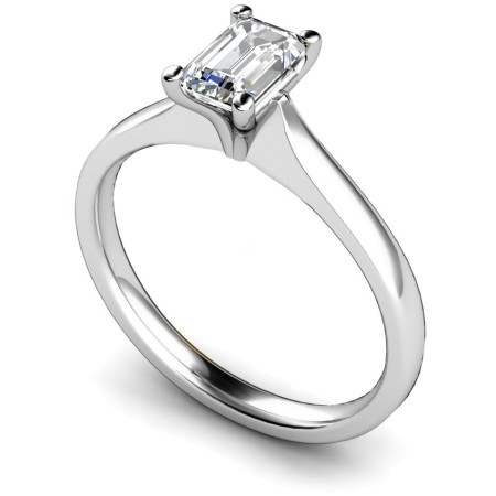 Four Claw Emerald cut Solitaire Diamond Ring - HRE416
