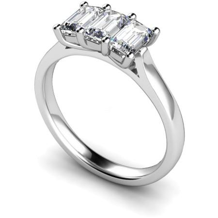 3 Emerald Diamonds Trilogy Ring - HRETR135