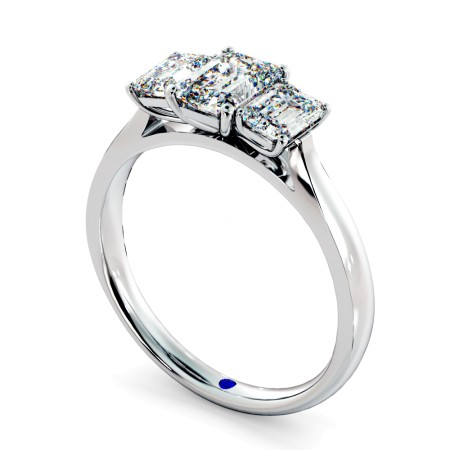Emerald 3 Stone Diamond Ring - HRETR136
