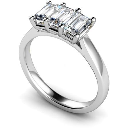 3 Emerald Diamonds Trilogy Ring - HRETR172