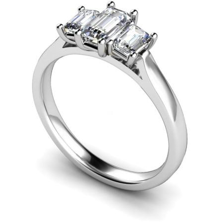 Emerald 3 Stone Diamond Ring - HRETR184