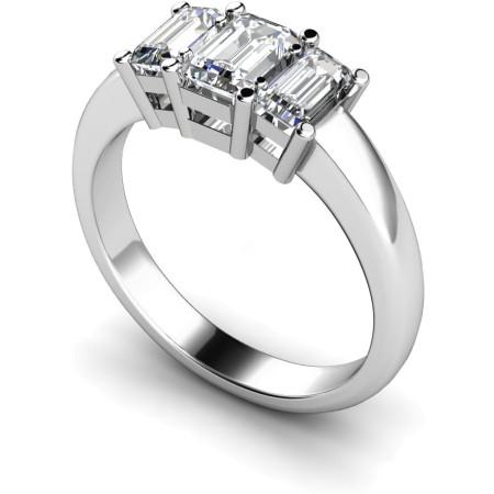 Emerald 3 Stone Diamond Ring - HRETR92