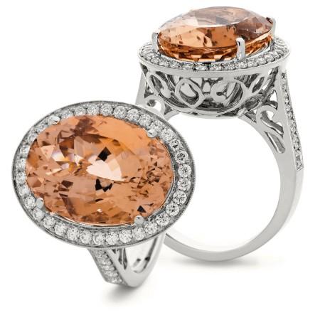 Designer Morganite & Diamond Single Halo Ring - HROGMG1132