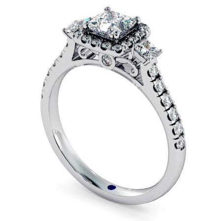 3 Stone Princess cut Halo Diamond Engagement Ring - HRPTR733